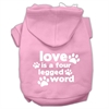 Mirage Pet Products Love is a Four Leg Word Screen Print Pet Hoodies Light Pink Size Lg (14)