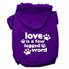 Mirage Pet Products Love is a Four Leg Word Screen Print Pet Hoodies Purple Size Med (12)