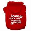 Mirage Pet Products Love is a Four Leg Word Screen Print Pet Hoodies Red Size Sm (10)
