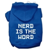 Mirage Pet Products Nerd is the Word Screen Print Pet Hoodies Blue Size S (10)