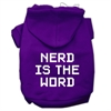 Mirage Pet Products Nerd is the Word Screen Print Pet Hoodies Purple Size S (10)