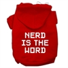 Mirage Pet Products Nerd is the Word Screen Print Pet Hoodies Red Size S (10)