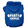Mirage Pet Products Party Animal Screen Print Pet Hoodies Blue Size Med (12)