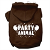 Mirage Pet Products Party Animal Screen Print Pet Hoodies Brown Size XXL (18)