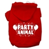 Mirage Pet Products Party Animal Screen Print Pet Hoodies Red Size Sm (10)