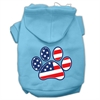 Mirage Pet Products Patriotic Paw Screen Print Pet Hoodies Baby Blue XXXL(20)