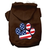 Mirage Pet Products Patriotic Paw Screen Print Pet Hoodies Brown XXXL(20)