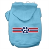 Mirage Pet Products Patriotic Star Paw Screen Print Pet Hoodies Baby Blue XXXL(20)