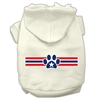 Mirage Pet Products Patriotic Star Paw Screen Print Pet Hoodies Cream Size XXXL(20)