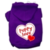 Mirage Pet Products Puppy Love Screen Print Pet Hoodies Purple Size Sm (10)