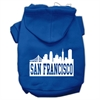 Mirage Pet Products San Francisco Skyline Screen Print Pet Hoodies Blue Size Med (12)