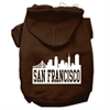 Mirage Pet Products San Francisco Skyline Screen Print Pet Hoodies Brown Size Sm (10)