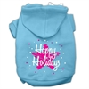 Mirage Pet Products Scribble Happy Holidays Screenprint Pet Hoodies Baby Blue Size XS (8)