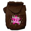 Mirage Pet Products Scribble Happy Holidays Screenprint Pet Hoodies Brown Size S (10)