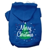 Mirage Pet Products Scribbled Merry Christmas Screenprint Pet Hoodies Blue Size S (10)