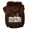 Mirage Pet Products Seattle Skyline Screen Print Pet Hoodies Brown Size Sm (10)