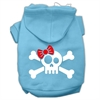 Mirage Pet Products Skull Crossbone Bow Screen Print Pet Hoodies Baby Blue Size Med (12)
