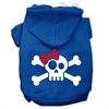 Mirage Pet Products Skull Crossbone Bow Screen Print Pet Hoodies Blue Size Sm (10)