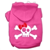 Mirage Pet Products Skull Crossbone Bow Screen Print Pet Hoodies Bright Pink Size Sm (10)
