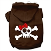 Mirage Pet Products Skull Crossbone Bow Screen Print Pet Hoodies Brown Size XS (8)