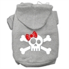 Mirage Pet Products Skull Crossbone Bow Screen Print Pet Hoodies Grey Size XL (16)