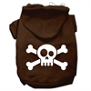 Mirage Pet Products Skull Crossbone Screen Print Pet Hoodies Brown Size Sm (10)