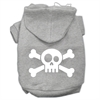 Mirage Pet Products Skull Crossbone Screen Print Pet Hoodies Grey Size XL (16)