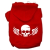 Mirage Pet Products Skull Wings Screen Print Pet Hoodies Red Size Sm (10)
