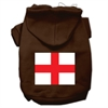 Mirage Pet Products St. George's Cross (English Flag) Screen Print Pet Hoodies Brown Size XL (16)