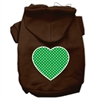 Mirage Pet Products Green Swiss Dot Heart Screen Print Pet Hoodies Brown Size XXXL (20)