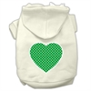 Mirage Pet Products Green Swiss Dot Heart Screen Print Pet Hoodies Cream Size XXXL(20)