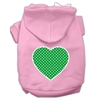 Mirage Pet Products Green Swiss Dot Heart Screen Print Pet Hoodies Light Pink Size Sm (10)