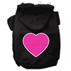 Mirage Pet Products Pink Swiss Dot Heart Screen Print Pet Hoodies Black Size XXL (18)