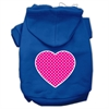 Mirage Pet Products Pink Swiss Dot Heart Screen Print Pet Hoodies Blue Size Sm (10)