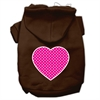 Mirage Pet Products Pink Swiss Dot Heart Screen Print Pet Hoodies Brown Size Sm (10)
