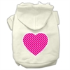 Mirage Pet Products Pink Swiss Dot Heart Screen Print Pet Hoodies Cream Size S (10)