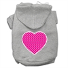 Mirage Pet Products Pink Swiss Dot Heart Screen Print Pet Hoodies Grey Size XXXL (20)