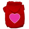 Mirage Pet Products Pink Swiss Dot Heart Screen Print Pet Hoodies Red Size Med (12)