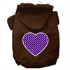 Mirage Pet Products Purple Swiss Dot Heart Screen Print Pet Hoodies Brown Size Lg (14)