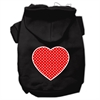 Mirage Pet Products Red Swiss Dot Heart Screen Print Pet Hoodies Black Size XS (8)