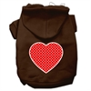 Mirage Pet Products Red Swiss Dot Heart Screen Print Pet Hoodies Brown Size Med (12)