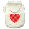 Mirage Pet Products Red Swiss Dot Heart Screen Print Pet Hoodies Cream Size XXXL(20)