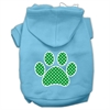 Mirage Pet Products Green Swiss Dot Paw Screen Print Pet Hoodies Baby Blue Size Sm (10)