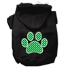 Mirage Pet Products Green Swiss Dot Paw Screen Print Pet Hoodies Black Size XS (8)