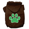 Mirage Pet Products Green Swiss Dot Paw Screen Print Pet Hoodies Brown Size Med (12)
