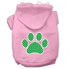 Mirage Pet Products Green Swiss Dot Paw Screen Print Pet Hoodies Light Pink Size XL (16)