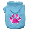 Mirage Pet Products Pink Swiss Dot Paw Screen Print Pet Hoodies Baby Blue Size XS (8)