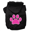 Mirage Pet Products Pink Swiss Dot Paw Screen Print Pet Hoodies Black Size XS (8)