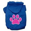Mirage Pet Products Pink Swiss Dot Paw Screen Print Pet Hoodies Blue Size Sm (10)