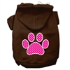 Mirage Pet Products Pink Swiss Dot Paw Screen Print Pet Hoodies Brown Size Sm (10)
